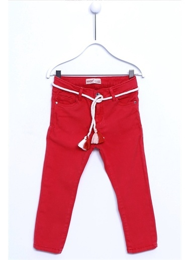 Silversun Kids Pantolon Kemer Takım Dokuma 5 Cepli Püskül Detay Kemerli Pantolon Kız Çocuk Pc 210437 Kırmızı